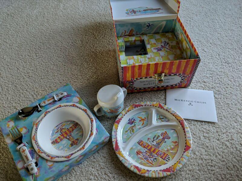 Brand New MacKenzie-Childs Take Flight Toddler Dinnerware Set Gift Box Unused