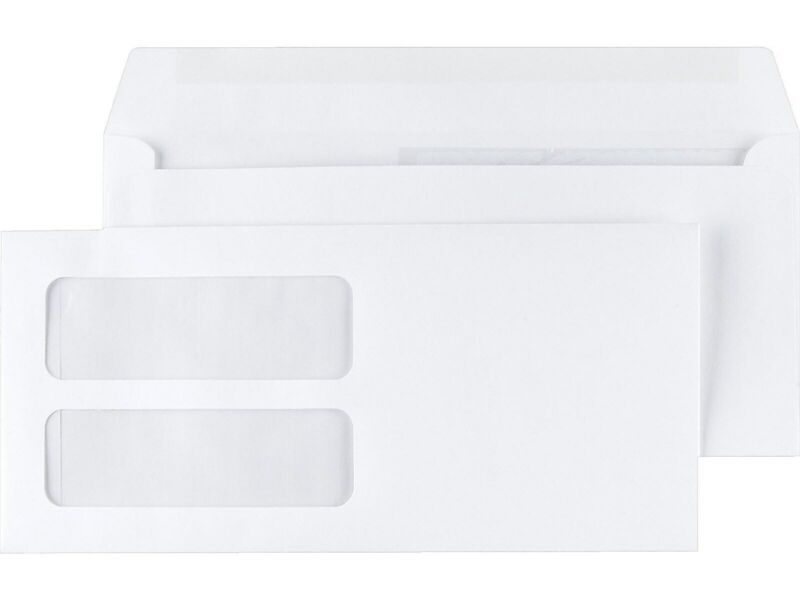 """MyOfficeInnovations Gummed Double-Window 4 3/16"""" x 9"""" Envelopes for Laser Forms"""