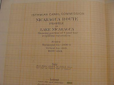 Early 1900's Original chart ISTHMIAN CANAL: plate 50 profile no 3 LAKE NICARAGUA