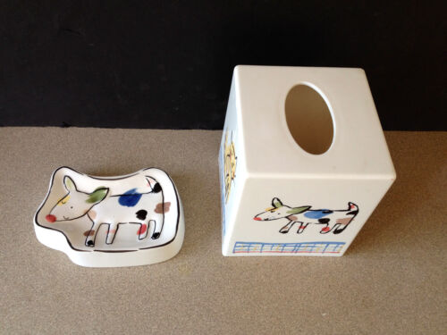 Bull Terrier Soap Dish and Tissue Box Cover