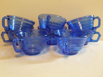 8 Hazel Atlas Cobalt Blue Moderntone Cups