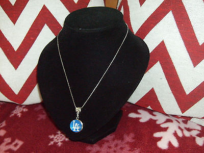 "MLB L.A. DODGERS Ginger Snap Style W/Pendant Bale and Snap 18"" Necklace ""LOOK"""