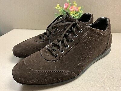 A.Testoni Brown Leather Oxford Driving Loafer Lace Up Dress Shoes Mens Size 10