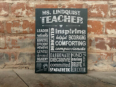 Chalkboard Style Canvas, Inspirational Sign, Personalized Teacher Gift ()