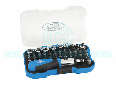 FORD TOOLS 37pc Ratchet Screwdriver / Bit / Hex / Torx Socket Set in Hard Case