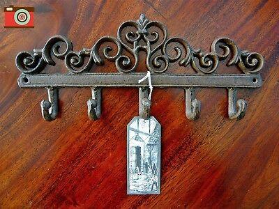 CAST IRON WALL HOOK RACK, Coats Keys etc. Antique Vintage Look. Stylish & Useful