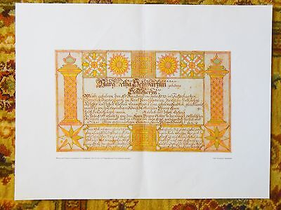 4 LARGE PRINTS Of EARLY HAND DRAWN COLORED PENNSYLVANIA DUTCH FAMILY HISTORIES - $120.00