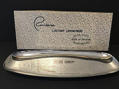 Vintage Riviera Lifetime Chromeware Serving Tray, In original Box, #C-175