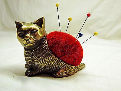 Brass Metal Cat / Kitten Sewing Pincushion / Pin Cushion