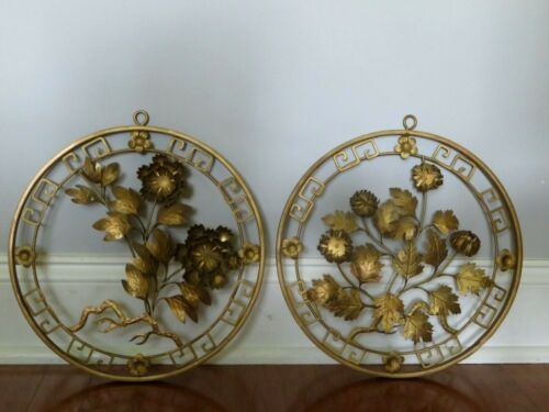 PAIR OF VINTAGE TOLE GOLD METAL WITH FLOWERS WALL DECOR ~ 12""