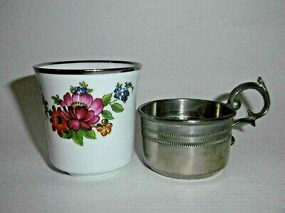 Bareuther Waldsassen Porzellan Mokkabecher Zinnhalterung Blumenstrauß - Dekor Si Dekor Porzellan