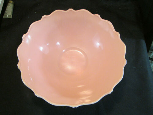 Vintage White Bowl with Pink Interior, Anchor Hocking Milk Glass Fruit bowl