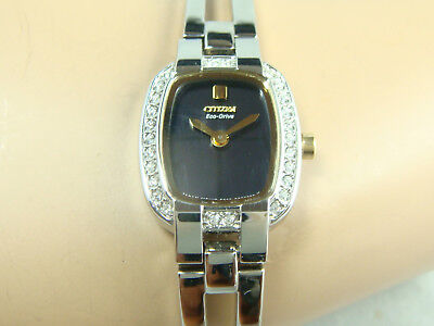 Citizen Eco-Drive women's watch Half bangle style with stones around Drive Womens Bangle Style Watch