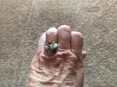 Sterling Silver Multi-stone Cluster Cocktail Ring - Size 8.25 Gemstone Cluster Cocktail Ring