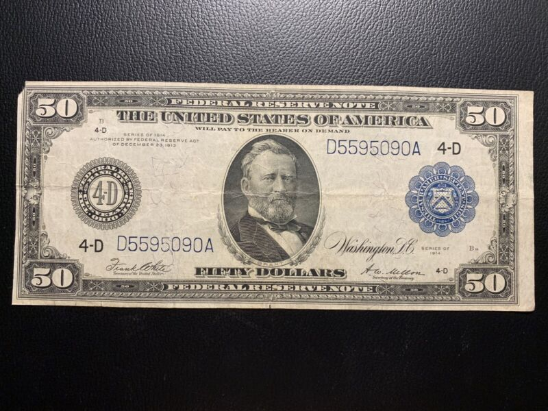 1914 $50 Blue Seal Federal Reserve Bank Note Fifty Dollars Cleveland VF/XF