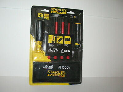 Stanley Fatmax 4 Pcs Insulated Screwdriver Set 1000v W Carrying Pouch New