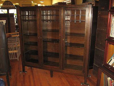 Mission Oak Divided 3 Door Bookcase Book Shelf Arts & Crafts Adjustable Original