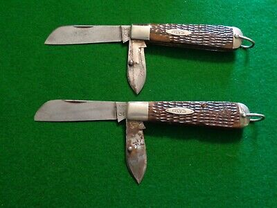 Old RARE LOT 2 Case Tested XX 6299SHR RIGGING Knives GREEN BONE Handles