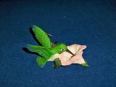 Ceramic Humming Bird on Flower Hand Painted Hummingbird](Ceramic Bird)