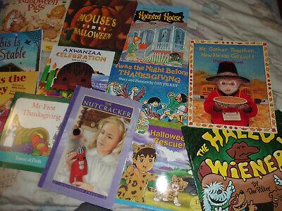 LOT 15 CHILDRENS BOOKS HALLOWEEN THANKSGIVING CHTISTMAS KINDERGARTEN 1ST 2ND