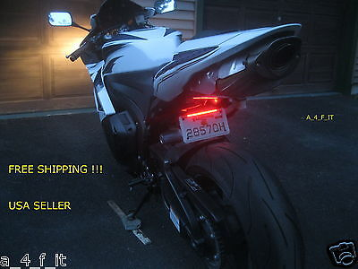 Motorcycle LED Turn Signal Tail Brake License Plate Integrated Light Quad Custom