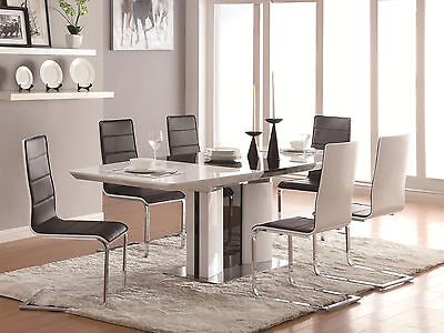 Modern Dining Room Set - Glossy White & Black 7pcs Rectangular Table Chairs IN7A, used for sale  Fountain Valley