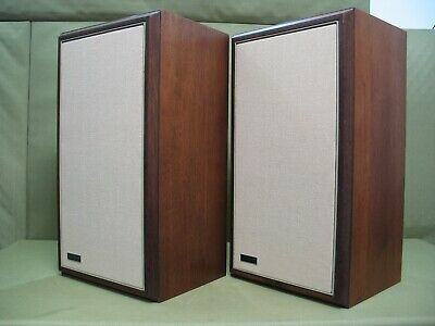 Large Advents OLA ( Beveled Walnut Cabinets)  Woofers Re-Foamed New Grill Cloth