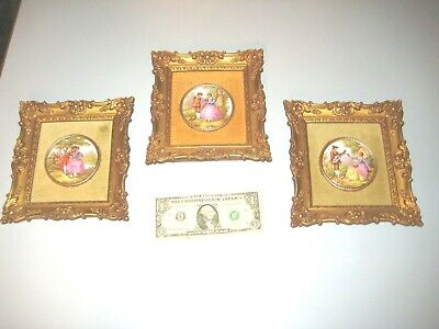 3 Vintage Gold Framed Victorian Cameos Reliable Union N.J. Mid- Century Signed