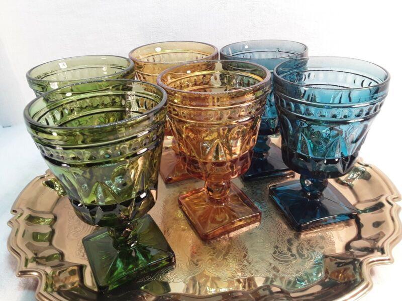 "Vintage"" INDIANA GLASS ""*Set of 6 *Multicolored  Stemmed Drinking Glasses 5 1/4"