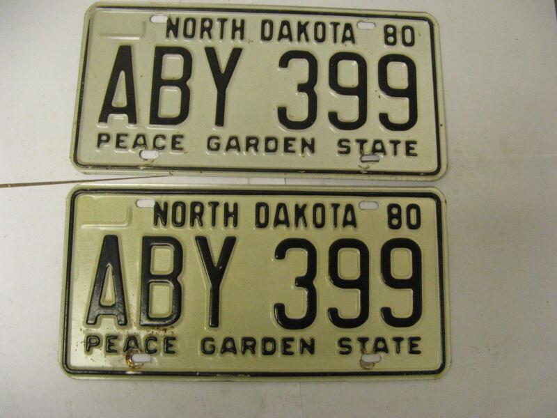 1980 80 North Dakota ND License Plate ABY 399 Pair