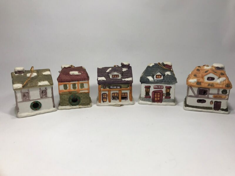 5 Christmas Village Bell Ornament J.S.N.Y Ceramic Factory House Collectible Gift