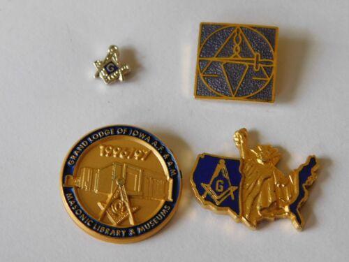 Four Vintage Masonic Lapel Pins