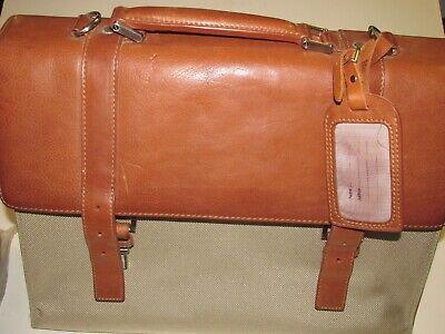 - Bosca VTG Tan Ballistic Nylon Brown Leather Attache Brief Case Correspondent Bag