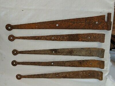 Lot 5 Primitive Hand Forged Barn Door Strap Hinges 14 3/4