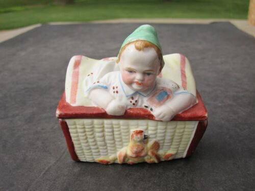 Old Antique Bisque Ceramic Child On Crib Covered Box Looking At Hen & Chicks