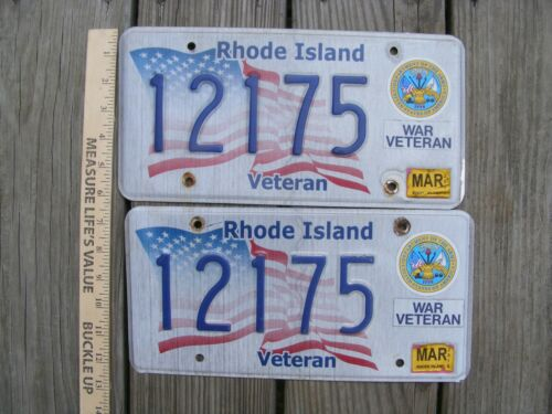 Rhode Island War Veteran Army license plate  12175