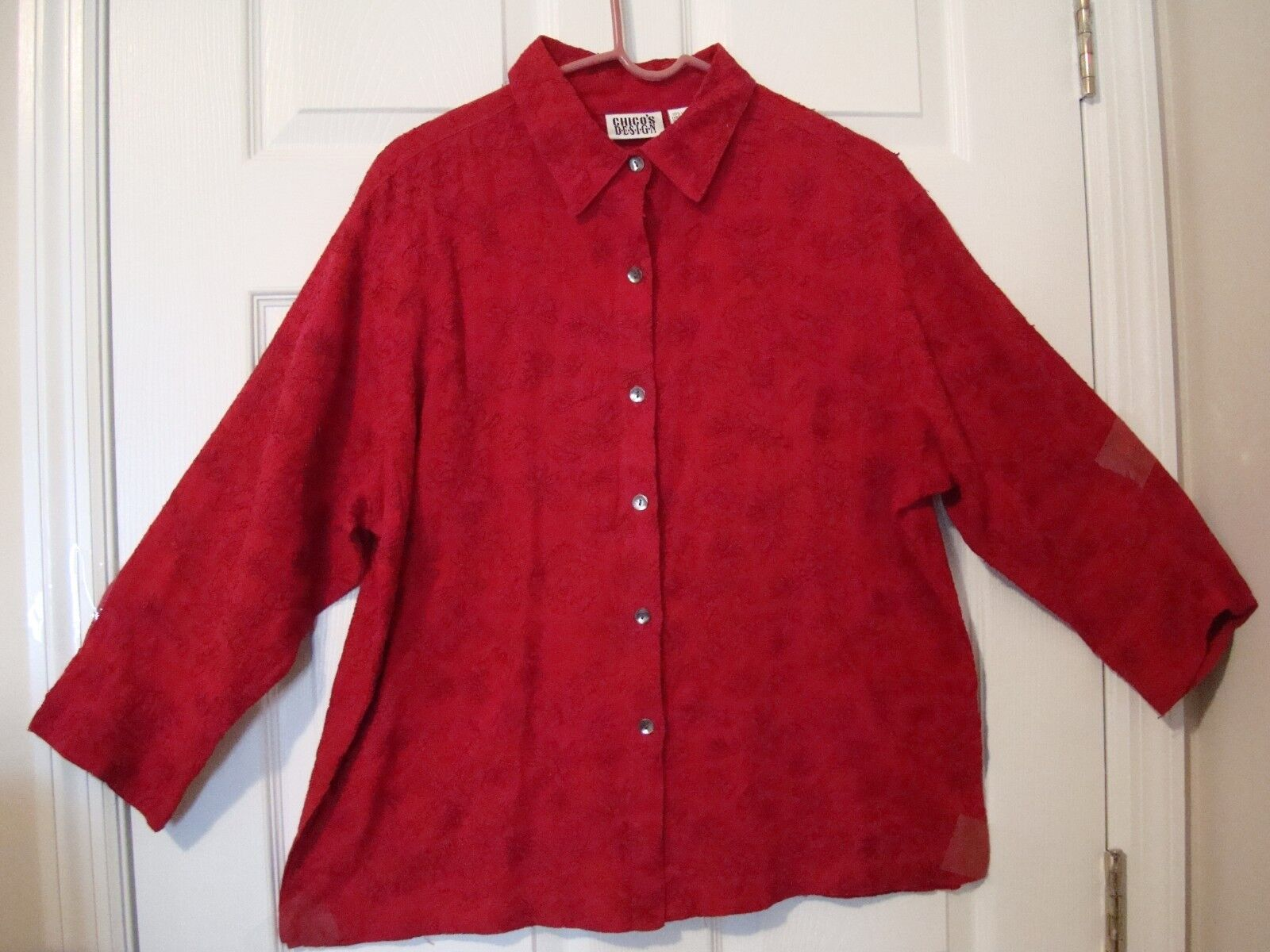 chico s apparel red textured shirt womans