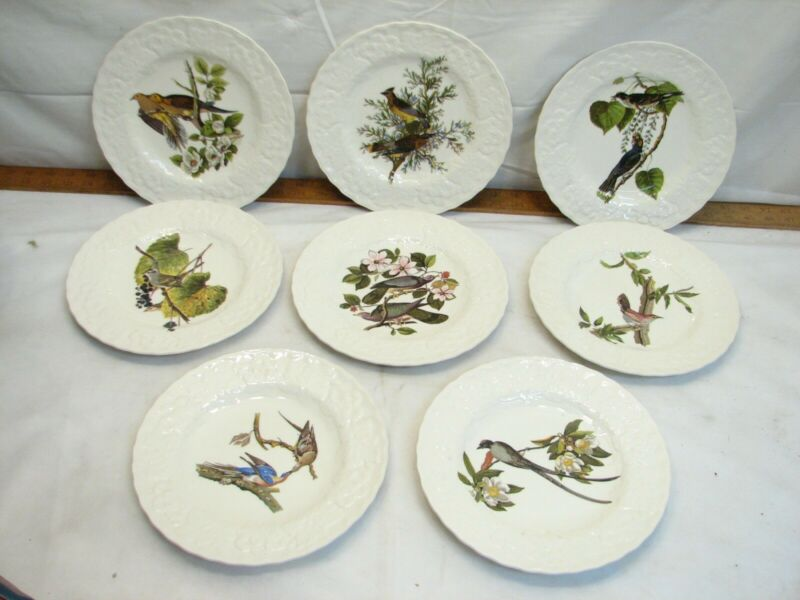 "8 Alfred Meakin Birds of America National Audubon Society 9"" Dinner Plates China"
