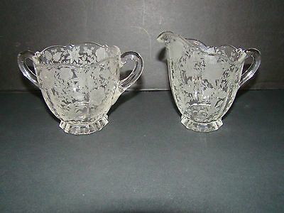 """CAMBRIDGE GLASS """"WILDFLOWER"""" 1940's FLORAL ETCHED CREAMER AND SUGAR BOWL"""