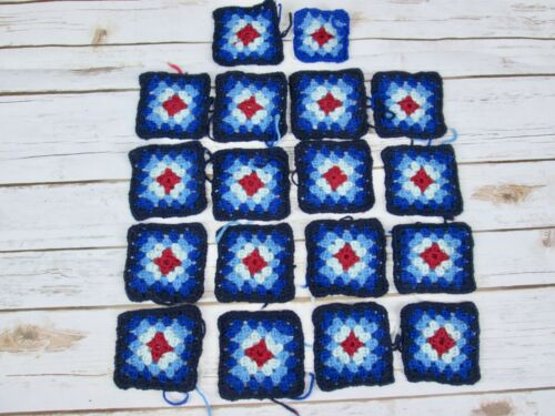 "Wool Granny Squares Crochet Vintage Handmade Blue Red Unfinished 4"" Project Lot"