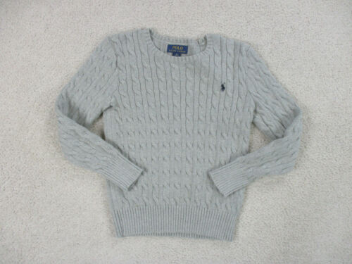 Ralph Lauren Polo Sweater Youth Medium Gray Blue Pony Long Sleeve Knit Boys Kids