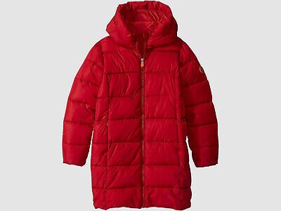 $432 Save The Duck Kid's Girl's Red Hooded Puffer Long Coat Jacket Size 10