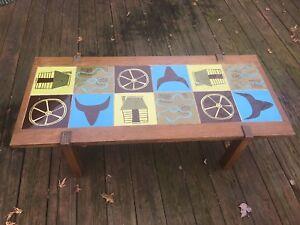 Brandt Ranch Oak Mid Century Tile Coffee Table