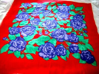 Vintage Scarf Styles -1920s to 1960s Vintage  Women' Scarf  Red with Purple Roses $5.99 AT vintagedancer.com