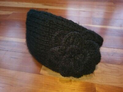 C.C. Exclusive Black Crochet Knit Ear Warmer Muffler Headband Wrap Flower Solid