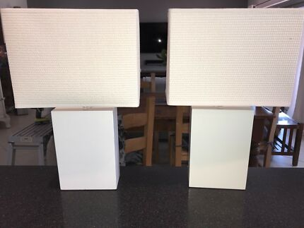 Pair of Modern White Freedom Furniture Table Lamps in Great Condition