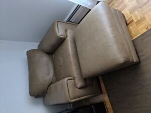 Classic leather loveseat with ottoman - very comfortable
