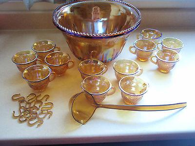 Vintage Indiana Colony Princess Harvest Amber Carnival Glass Punch Bowl Set