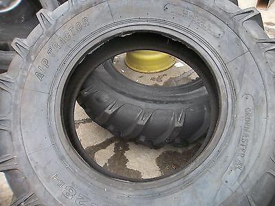 Two New 16.9x28 John Deere 8 Ply R 1 Bar Lug Rear Farm Tractor Tires