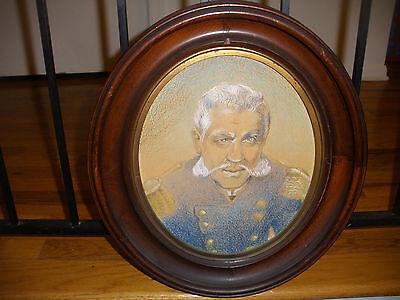 Antique 19th military pastel portrait general Nelson Appleton Miles